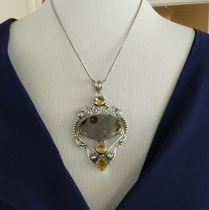 Jewelry - Coffee jasper citrine stamped 925 pendant